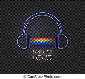 arco íris, vida, loud., fones, luz néon, viver, vetorial, música