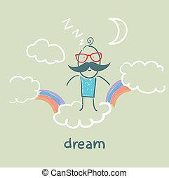 arco-íris, voando, Nuvens, sonho, homem