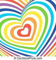 arco íris, volumetric, card., coloridos, valentines, experiência., vetorial, branca, dia, tridimensional