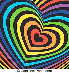 arco íris, volumetric, image., coloridos, valentines, experiência., vetorial, pretas, dia, cartão, tridimensional