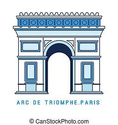 arco, arte, plano, de, parís, ilustración, triomphe, famoso...