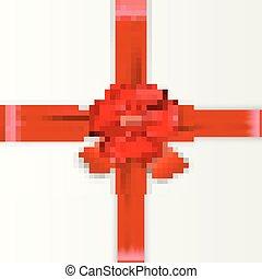 arco, cetim, fita vermelha