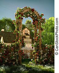 arco, cg, rosas, 3d