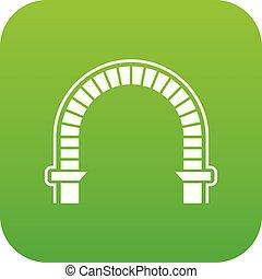 arco, colonna, icona, verde, vettore