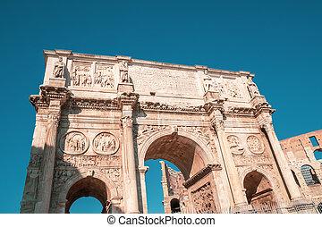 arco, constantine, roma, arco, o, di, costantino, coliseum.,...
