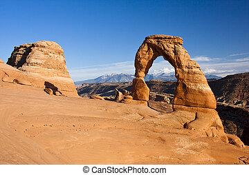 arco delicado, en, arcos parque nacional, utah