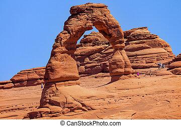 arco delicado, rocha, desfiladeiro, arcos parque nacional,...