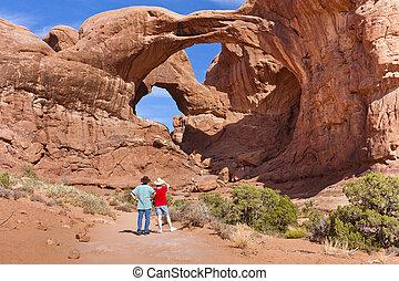 arco doble, en, arcos parque nacional