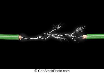 arco, eléctrico, alambres