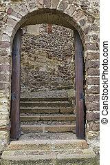 arco, entrada, en, viejo, pared