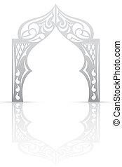 arco, estilo, fundo, abstratos, asiático