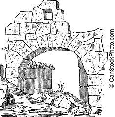 arco, fatto, porta, fortificazione, vendemmia, costruzione, muratura, pietra, engraving.