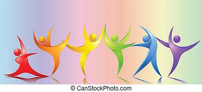 arco irirs, absract, bailando, pelota, gente