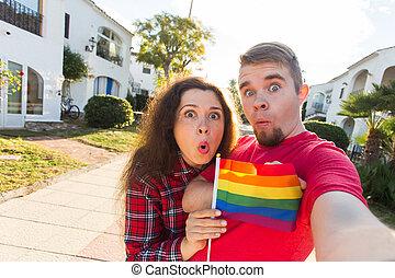 arco irirs, alegre, bandera, tenencia, amistad, lesbiana