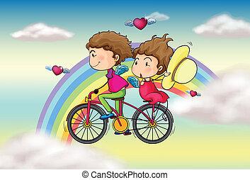 arco irirs, amantes, bicicleta que cabalga
