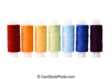 arco irirs, arreglado, carretes, multicoloured, hilos, línea