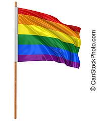 arco irirs, bandera, Orgullo, alegre