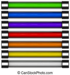 arco irirs, barra, coloreado, render, botón, descargue, 3d