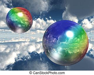 arco irirs, burbujas, en, el, cielo