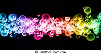arco irirs, burbujas, plano de fondo