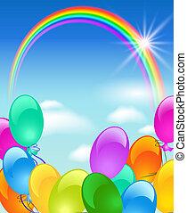 arco irirs, burbujas, y, sol