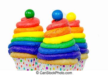 arco irirs, capa de azúcar glaseado, arremolinado, cupcake