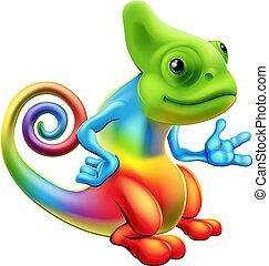 arco irirs, caricatura, camaleón