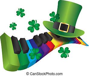 arco irirs, color, teclado, leprechaun, piano, sombrero
