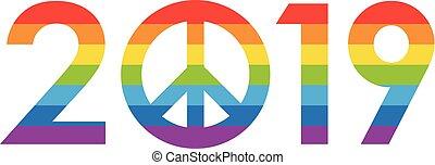 arco irirs, concepto, coloreado, -, 2019, año, nuevo