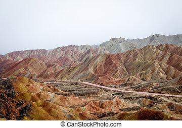 arco irirs, danxia, zhangye, china, provincia, montañas,...