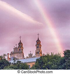arco irirs, en, el, cielo, cerca, el, iglesia
