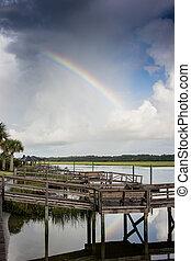 arco irirs, encima, entrada, diques
