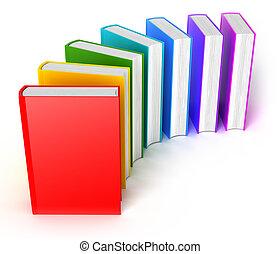 arco irirs, encima, libros, blanco, fila