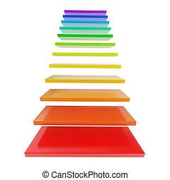 arco irirs, hecho, coloreado, escalera, escalera, pasos