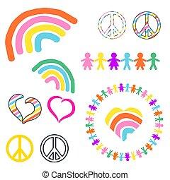 arco irirs, hippie, paz, símbolos, vector, pacifista, ...