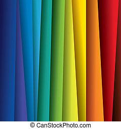 arco irirs, hojas, colorido, esto, resumen, contiene, -, espectro, ilustración, o, papel, color, vector, plano de fondo, (backdrop), graphic.