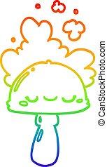 arco irirs, hongo, gradiente, spoor, dibujo, línea, ...