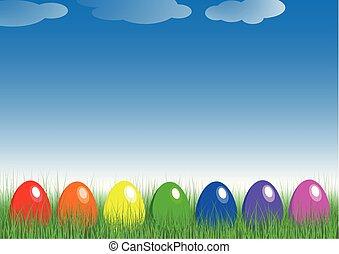 arco irirs, huevos de pascua, en, el, grass.