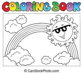 arco irirs, libro colorear, sol
