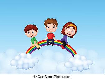 arco irirs, niños, feliz, sentado