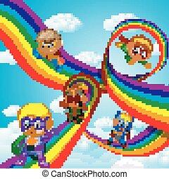 arco irirs, niños, héroe, encima, vuelo, equipo