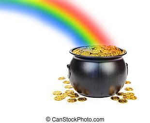 arco irirs, olla, oro, debajo