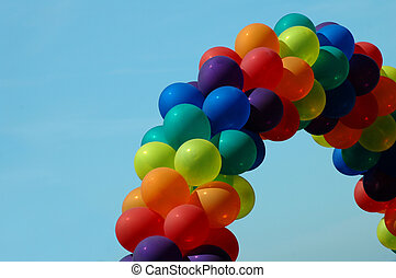 arco irirs, orgullo, globos, alegre