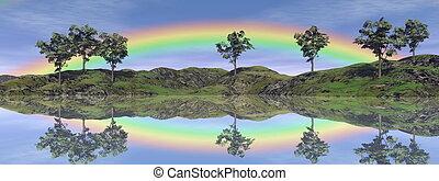 arco irirs, paisaje, -, 3d, render