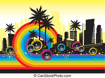 arco irirs, palmas, y, -, ilustración, vector, cityscape,...