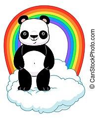 arco irirs, panda, nube