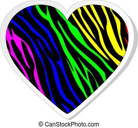 arco irirs, pegatina, zebra, corazón