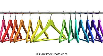 arco irirs, perchas, en, carril de las ropas