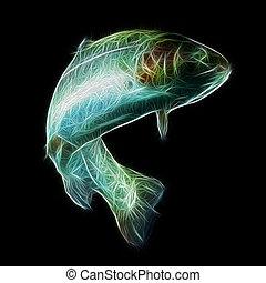 arco irirs, pez,  Fractal, trucha