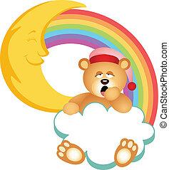 arco irirs, soñoliento, oso, nube, teddy